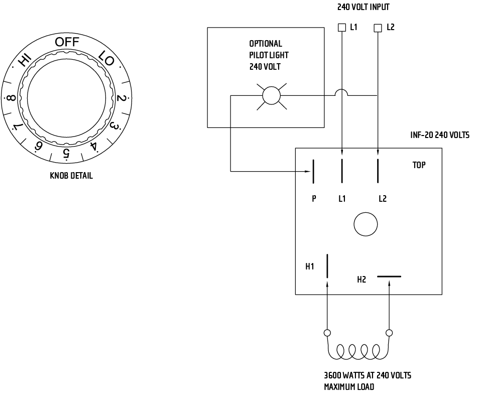 240V Wall Heater Wiring Diagram from infratech-usa.com