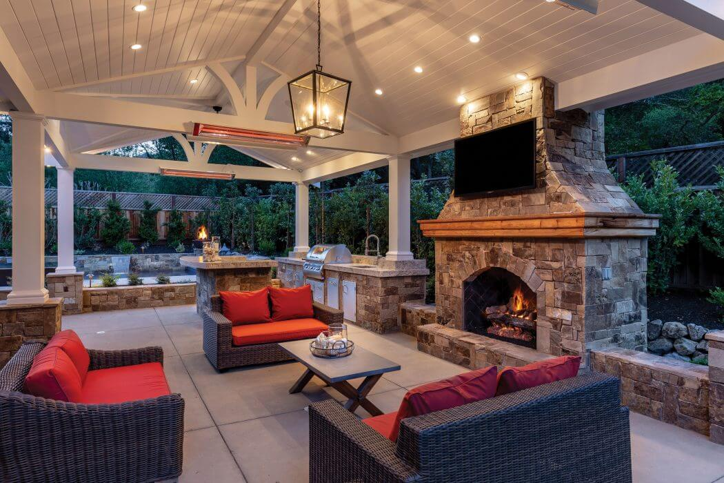 W-Series wall mounted heaters bring comfort to this beautiful outdoor living room.