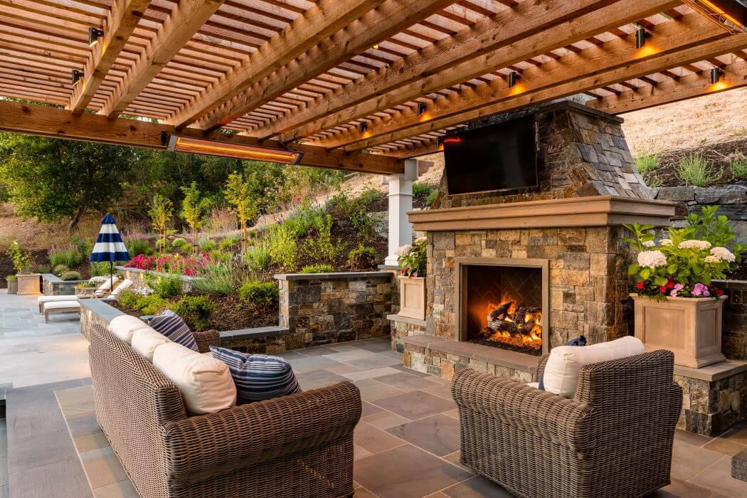 Infratech's W-Series wall mounted heaters specified to efficiently heat the open backyard patio in Lafayette, CA.