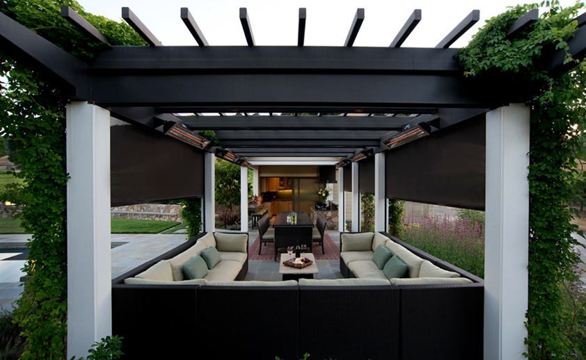 San Francisco craftsman style patio with wall mounted W-Series heaters. Photo via Le Reve Design.
