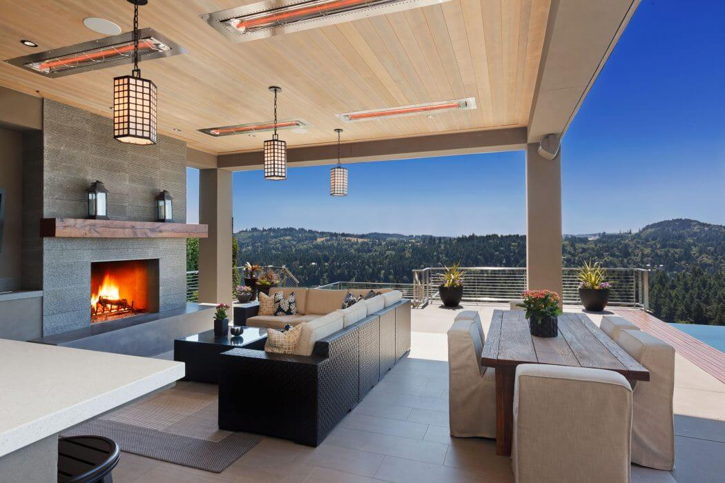 Mountain view patio in Portland, Oregon featuring Infratech flush mounted W-Series heaters.