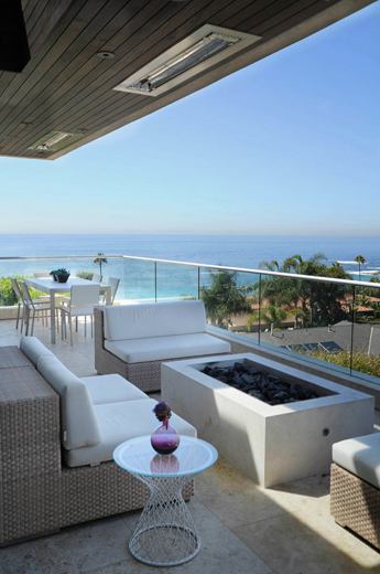 Laguna Beach balcony with flush mount W-Series heaters. Photo via O plus L.