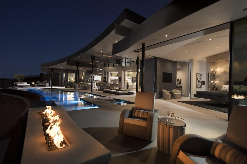 SL-Slimline heaters are the ideal feature to elevate the modern and sleek styling of The New American Home backyard.