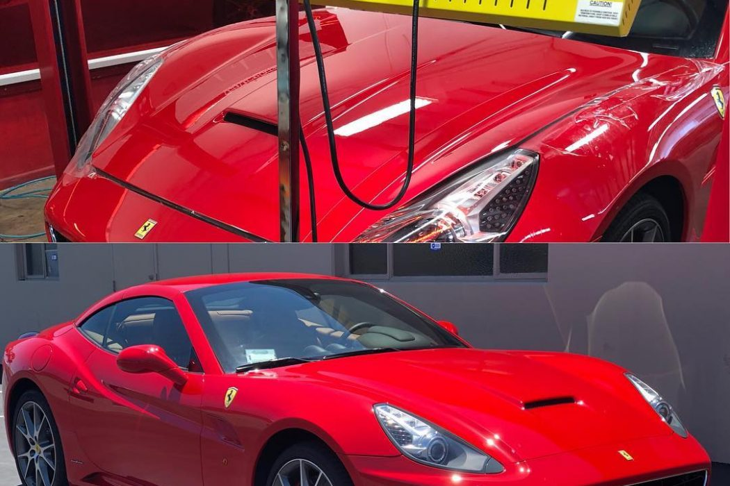 This Ferrari got a full paint correction and a complete front clip paint protection using Infratech Automotive S-6000-IR lamps