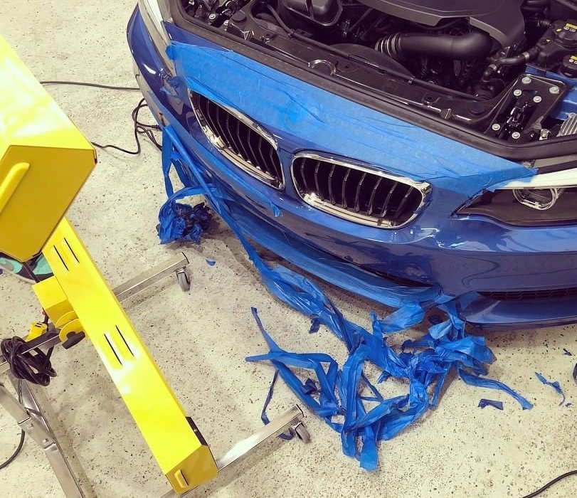 One of our portable curing systems helped to protect and repair this BMW after traveling cross-country.