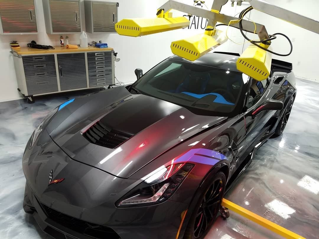 Our short wave system Model SR-6000 works to perfect the paint job on this gleaming Corvette