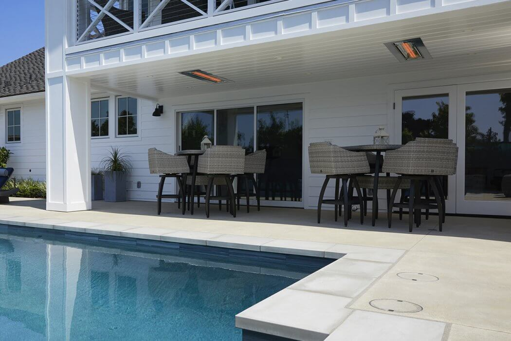 Enjoy the pool and outdoor patio year-round with 2 flush mounted WD-Series heaters.