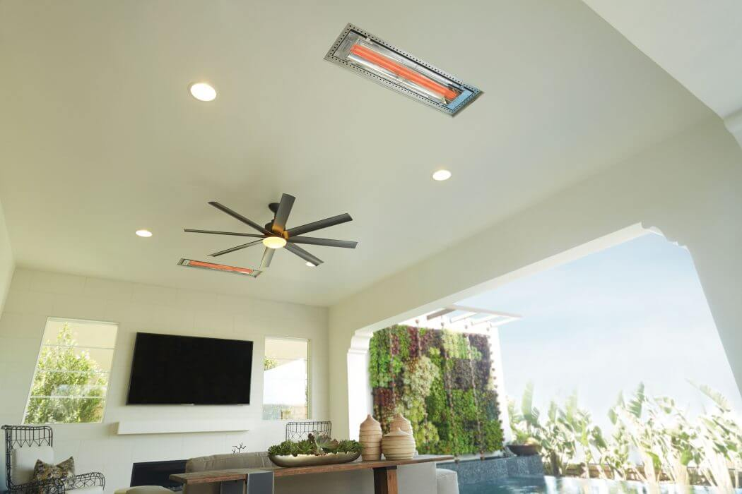 Two WD-Series flush mounted heaters allow indoor comfort, outside.