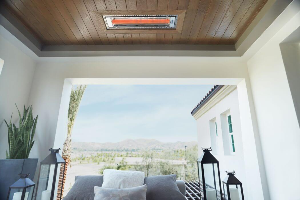 Infratech flush mounted WD-Series heaters blend seamlessly into the ceiling with tongue-and-groove frame installations.