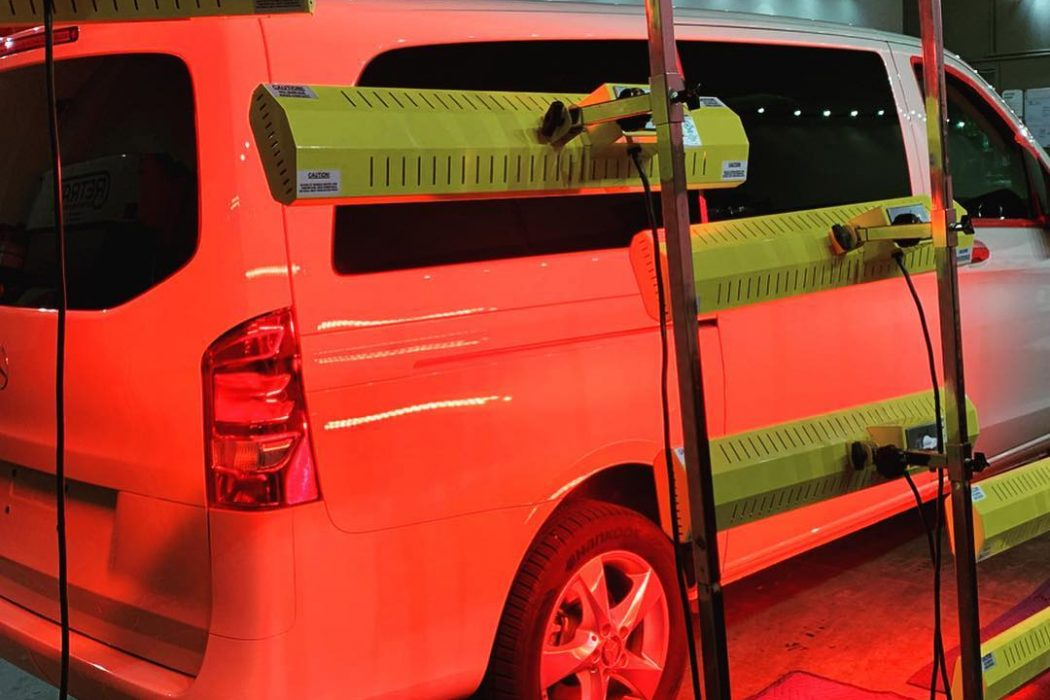 Multiple Infratech short wave systems, totaling 9,900 watts of infrared curing power, help speed up dry time on this Mercedes Metris.