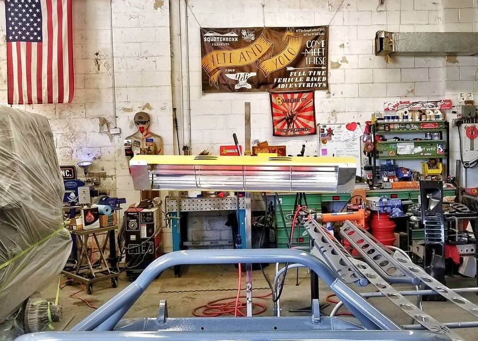 Our medium wave systems Model SRU-1615 works to speed up the painting process on this custom Jeep.