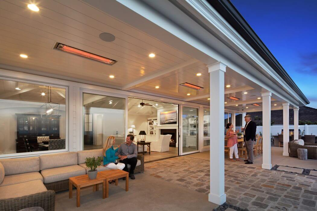 Montecito residence specified four flush mounted WD-Series dual element heaters for even heating that doesn't blow away with the ocean breeze.