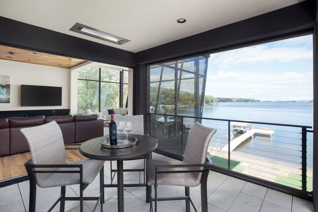 Flush mounted WD-Series heaters specified to add significant heat & comfort to this lake-side modern house.