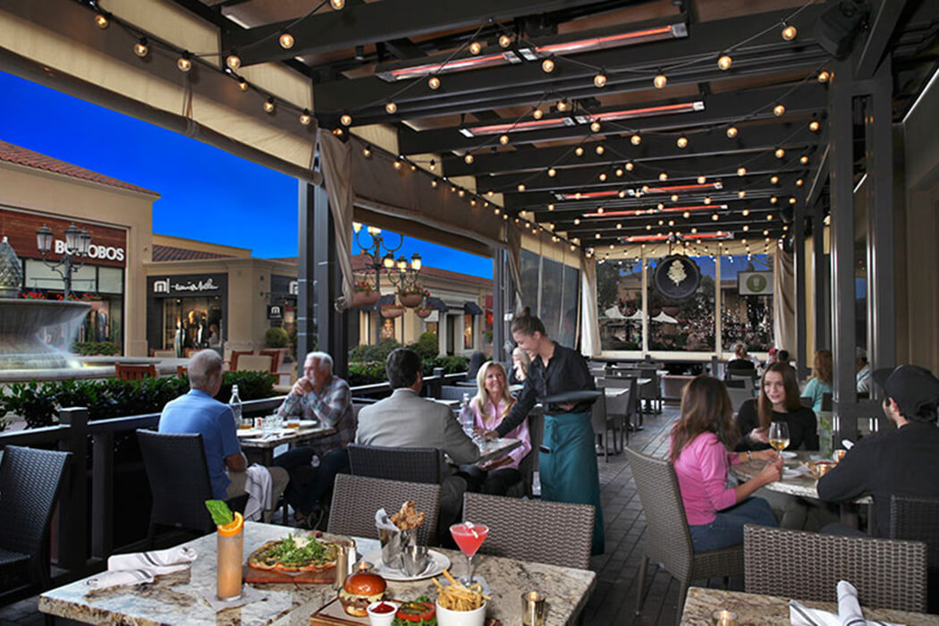 Great Maple Restaurant in Fashion Island, Newport Beach features ceiling mounted Slimline heaters to make the most of their outdoor seating area, year-round.