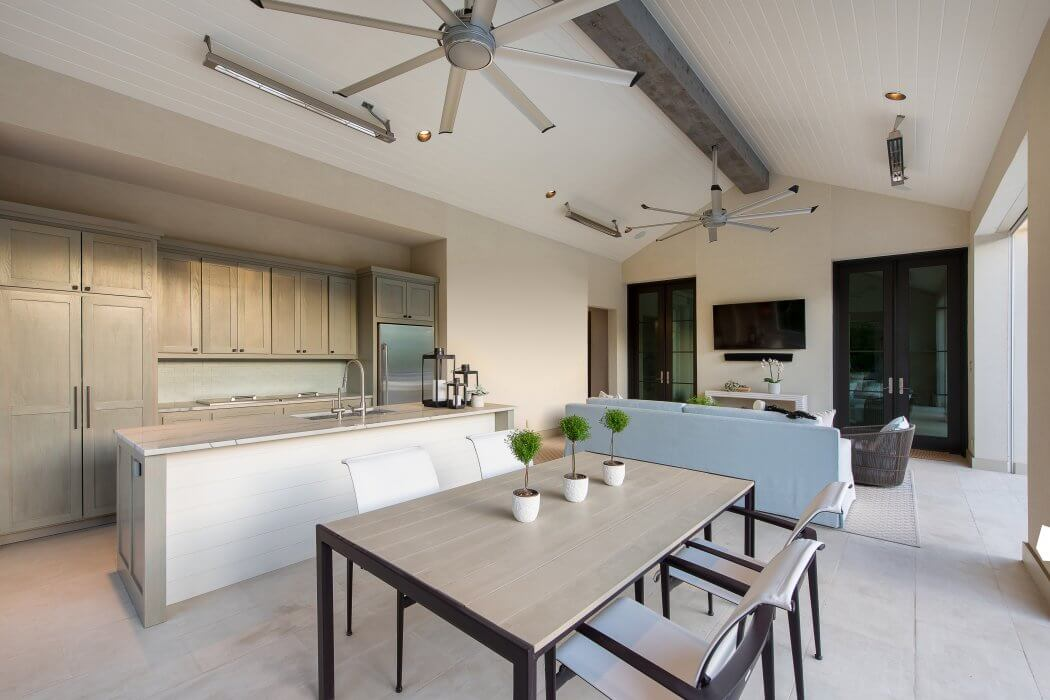 Enjoy an indoor/ outdoor kitchen with the added heat and comfort from Infratech's Slimline heaters.