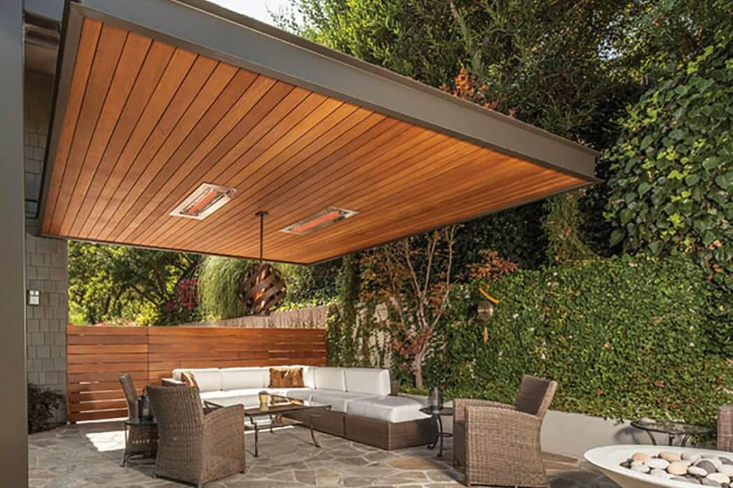 Patio with flush mounted W-Series heaters help to bring year-round entertaining and comfort without obstructing the space or design.