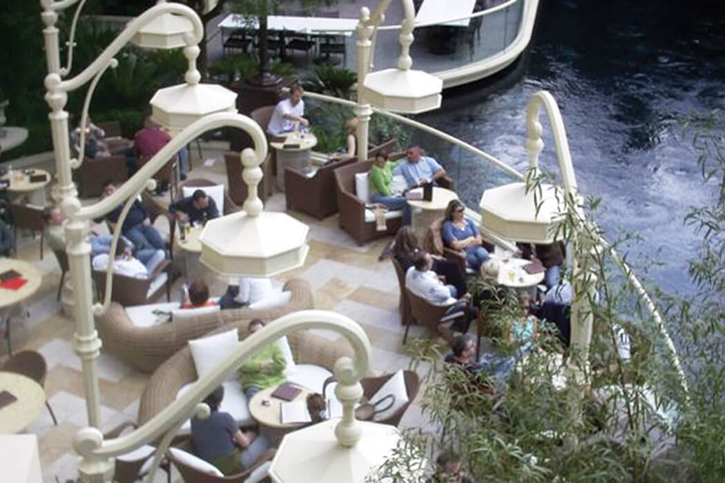 Casino patio in Las Vegas installed custom Infratech heaters to the outdoor patio at the Wynn Casino & Hotel.