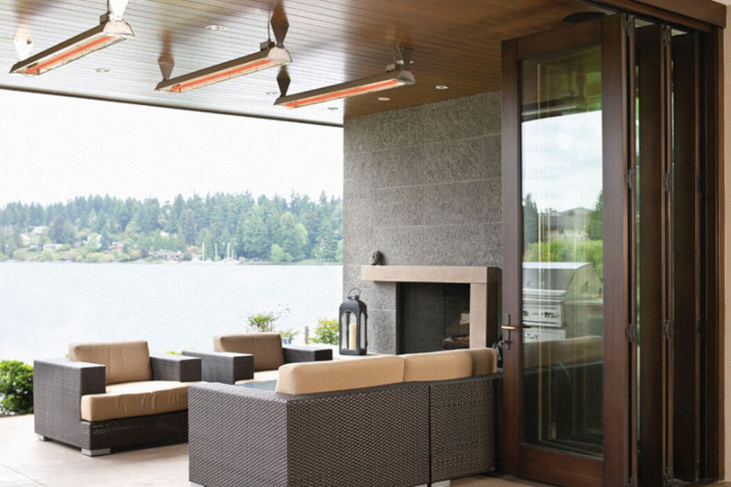 Seattle, WA residence installed WD-Series heaters to provide direct, energy efficient heat to the outdoor patio.